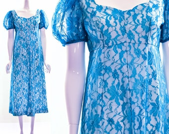 Vintage 60s 70s Teal Lace Maxi Dress Long Dress Puff Shoulders Sheer Floral Lace Empire Waist Small Medium