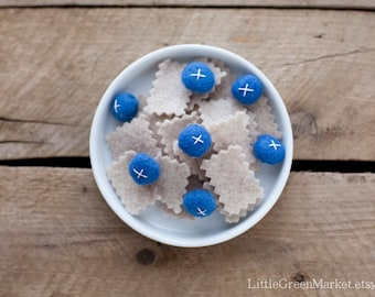 Oatmeal with blueberries, breakfast, felt food, play food, cereal, felt play food, felt breakfast,toy food, felt food set