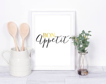 Bon Appetit, Real Foil Print, Kitchen Decor