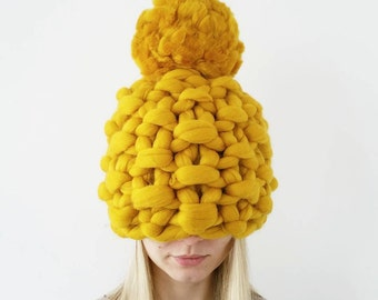 Knit Hat Chunky Pompom Mustard Yellow Hat