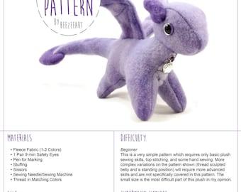 Tiny Dragon Stuffed Animal Sewing Pattern, Small Dragon, Plush Toy Pattern, Plushie Pattern