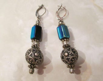 Victorian 1920's Antique Earrings w BLUE GLASS & Paste Stones w .999 Silver Plated ORNATE Ball Flower Beads- Long, Large Elegant, Beautiful