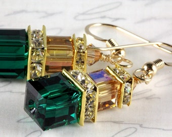 Crystal Cube Earrings, Dangle Earrings, Swarovski, Gold Filled, Green and Gold, Baylor Colors, Stacked Cubes, May Birthday