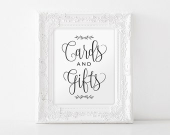 Cards and Gifts Sign, Gift Table Sign, Cards and Gifts Printable, Wedding Template, Rustic Wedding Sign, Instant Download #BPB202_40