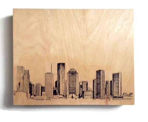 Wood Wall Art Panel Houston Skyline Art on Wood Customize Your