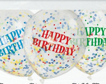 "Confetti Balloons, Happy Birthday, Pack of 6, 12"" balloons, Mixed confetti, Confetti, Birthday Balloons, Birthday Decor, Party Balloons"