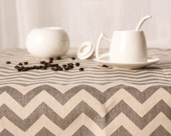 Tablecloth, Zig zag Linen Cotton Table Cloth, Vintage Decorative tablecloth, Wedding Birthday party Overlay, Square rectangle tablecloth