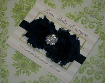 Navy Blue Flower Headband, Baby Headband, Navy Chiffon Flower Headband, Baby Hair Bow, Toddler Headband Flower Girl Headband