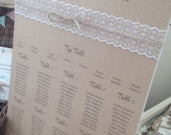 Rustic/Vintage/Shabby Chic 'Rebecca' A3 Wedding Table Seating Plan with Lace