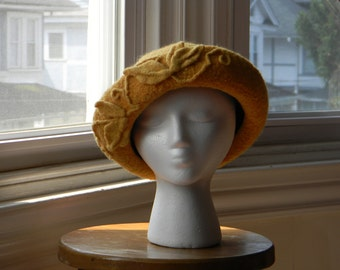 Felted women's wool hand-knit hat daffodil yellow Breton felted leaves--Downton Abbey style-Daffodil