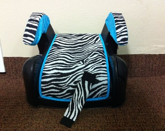 Made to order/custom Cosco booster seat cover with armrest and seat belt cover