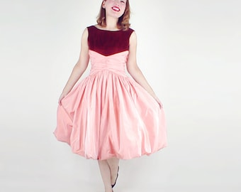 50s Iridescent Peach Bubble Hem Party Dress with Rust Velvet Bodice XS