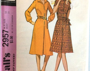 Vintage 1970s Pattern | Ladies Dress | Size 16, Bust 38 | McCall's 2957