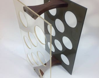 Mod 1970's Lucite Wood Wine Rack