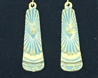 Sunburst Brass Patina Earrings