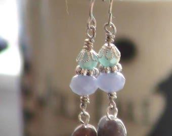 Glass Gemstone Dangling Earrings