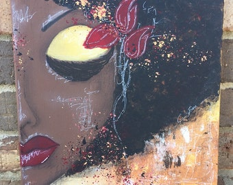 OOAK Sassy Girl Chocolate 2- Courage, Mixed Media 12x12 Canvas, African American