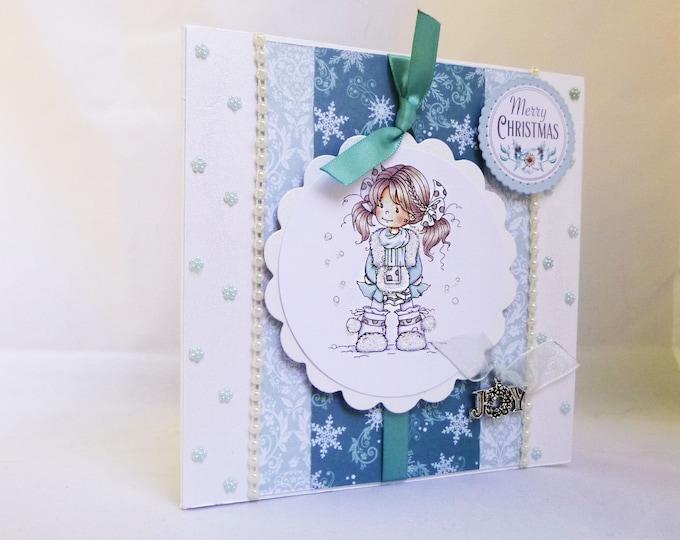 Merry Christmas Card, Girl In The Snow, Cute Card, Seasonal Greetings, Festive Card, Special Christmas, Festive Greetings