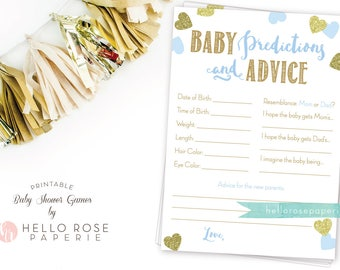 Baby Predictions and Advice . Baby Prediction Cards . Blue and Gold Baby Shower Games Printable . Instant Download . Boy Baby Shower Game