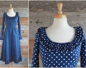 Victor Costa dress | navy blue polka dot dress | size xs - s