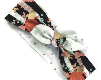 Stripes knot bow headscarf, reversible headband, flowers gold triangles, pin up retro rockabilly head wrap, baby girl women cotton fabric