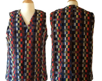 Vintage/VTG 1970's-1980's multi color International Ladies garment workers union knit hippie colorful beautiful yarn vest