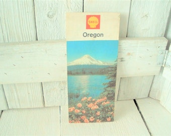 Vintage Oregon road map with driving tours Shell 1967- free shipping US