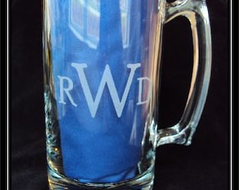 Etched Glass Personalized 24 oz Monogrammed Beer Mug Stein by Jackglass on Etsy