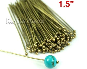 Headpins Ball Tip Head End Antique Brass 38mm 1.5 inches 22 Gauge - 100pcs