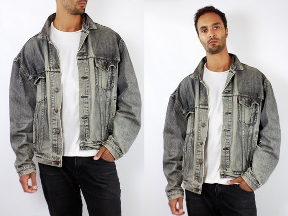LEVIS Denim Jacket Levis Jean Jacket Denim Jacket Levis Large Jean Jacket Men Levis Jacket Grey Vintage Denim Jacket Men Grey Levis JJ256
