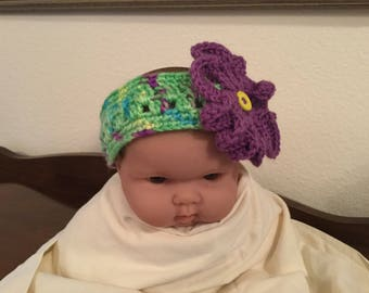 Crochet Baby Headband with Flower and Button