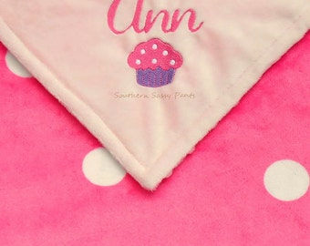Embroidered Baby Girl Cupcake Blanket - Personalized Baby Blanket for Girls - Custom Embroidery Options Available