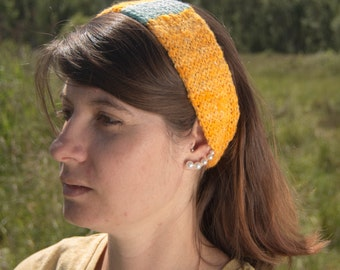 Knit Headband - Alpaca hand spun, hand dyed and hand knit - Goldenrod yellow and sky blue