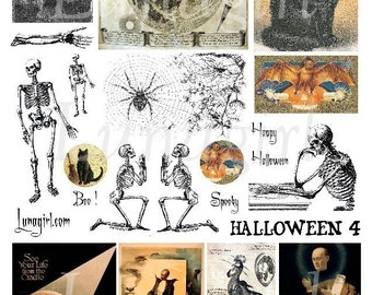 HALLOWEEN, digital collage sheet, vintage images, skeleton, gothic, scary, weird, magic, occult, steampunk, witch, black cat, moon, medieval