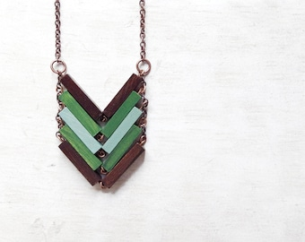Wood Chevron Necklace // WILD // Minimal Jewelry // Brown // Green // Mint // Hand-Painted Necklace // Modern Necklace / Chevron Necklace