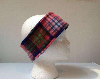 Plaid reversible fleece ear warmer headband, fleece headband, winter ski headband ear warmer.
