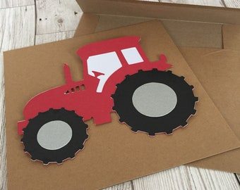 Blank greeting card, happy bithday tractor card, Father's Day card, tractor card, red tractor card, handmade Massey Ferguson/ case card