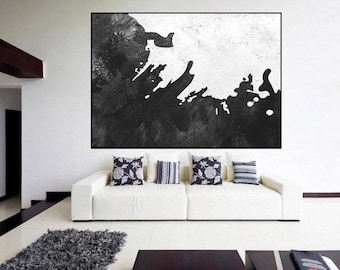 original abstract Painting, Black and White, large painting on canvas, contemporary wall art, large Abstract art, wall art canvas painting