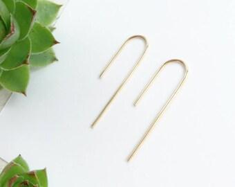 Gold threader earrings - minimalist - open hoops - staple pin arc earrings - modern minimal 14k gold filled (rolled) earrings