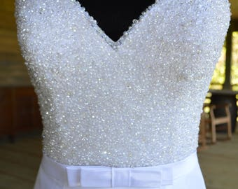 8/ Beaded Bodice Wedding Dress / White Satin BOW Wedding Dress  / Satin Cathedral Skirt / Bow Waist Ribbon / Clear Beaded Bodice / Gorg