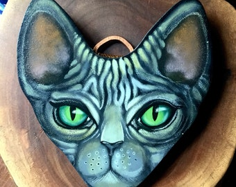 Sphinx Cat Face Hand Painted on Homemade Wood Plaque