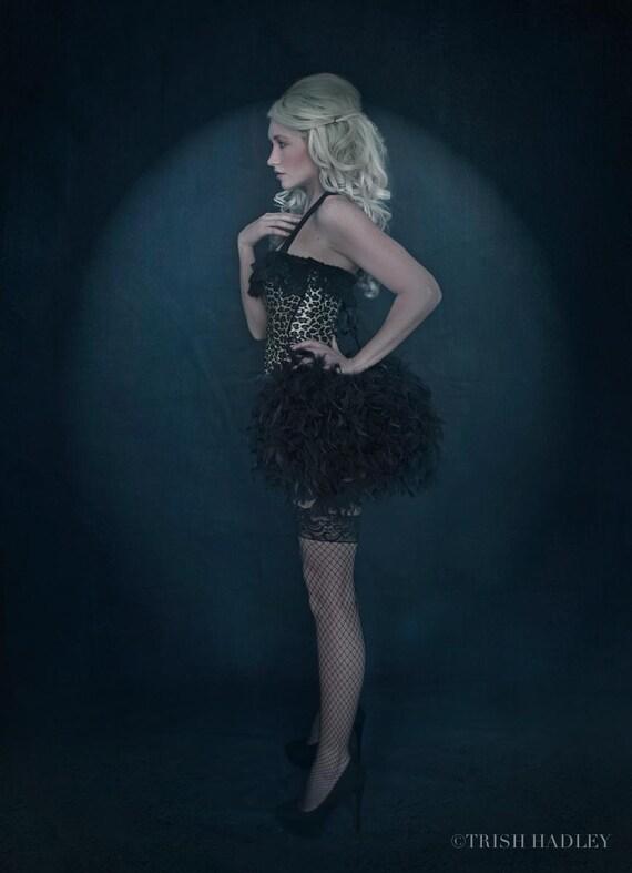 LEOPARD Print Corset Animal Costume black feather dress Steampunk burlesque