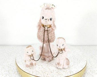 Vintage Pink Poodle on Chains Family - Made in Japan - Pink Poodles Mom and Two Puppies