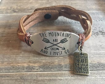 The mountains are calling and i must go brown braided leather bracelet