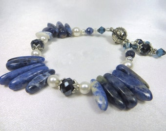 SALE 25% off! Blue Sodalite Bracelet in Daggers,Swarovski Crystals and White Pearls with Charms and magnetic clasp