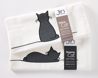 Sitting Cat and Sleeping Cat Tea Towel - Set of 2 Premium Cotton Tea Towels, Screen-printed in the UK, Gift for Cat Lovers, Kitchen Towel