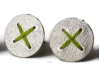 Silver round disc earrings studs stitched with green thread