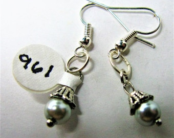 White And Silvertone Beaded Earrings With Bead Caps - Item 961 E