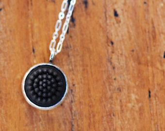 Black Tobiko Silver Button Necklace- made to order