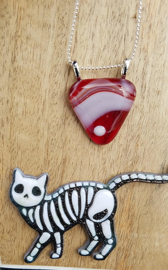 Red and White Fused Glass Pendant, Red Swirl Glass Pendant